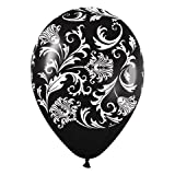 Black Damask White Print Latex Balloons (6) party supplies