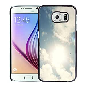 Fashionable Custom Designed Samsung Galaxy S6 Phone Case With Sunny Sky White Clouds_Black Phone Case