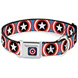 Buckle Down Seatbelt Buckle Dog Collar - Captain America Shield Repeat Blue - 1.5'' Wide - Fits 18-32'' Neck - Large