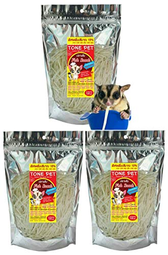 TONE PET Sugar Glider Food Fish Snack 3 Pack Provides Oral Hair and Skin enriching The Product Produced from Fish Contains a lot of Protein Calcium Salt Free and Color Free! 120 Gram + Bonus 15% ()