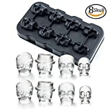 Image of 3D Skull Ice Mold-Food Grade Flexible Silicone Tray with Lid, Makes 8 Exquisite skull Ice Cubes for Your Whisky or Drinks- Jelly,Candy,Chocolate Mold. Awesome Halloween Gift for Kids,Friends. BPA Free. (4 Funnels attached)(Black)