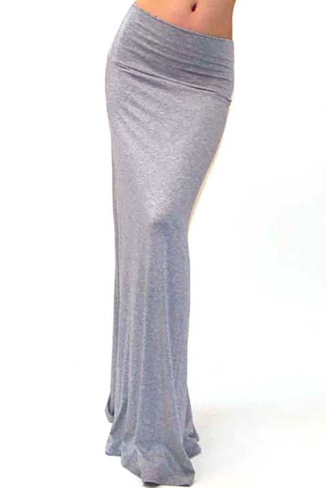 Vivicastle Women's Spand Long Solid Rayon Foldover Maxi Skirt (medium, heather gray)