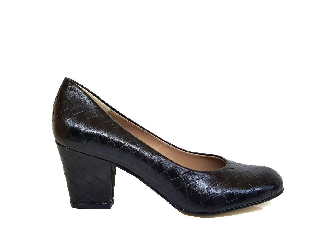 Gennia XERRIE - Zapatos de Tacon Grueso 6 cm con Punta Cerrada Redonda para Mujer 41 EU,Piel Con Trenzado