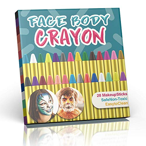SuMile 28 Colors Face Painting Crayons Face and Body Painting Crayons Party Makeup Sticks for Kids, Toddlers and Adults, Safe & -