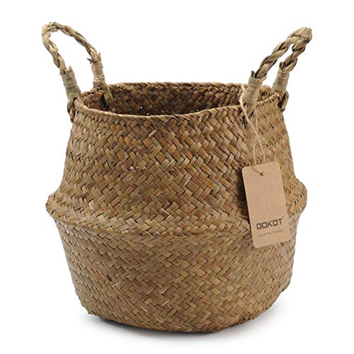DOKOT Natural Seagrass Belly Basket with Handles, Toy Storage and Baby Laundry Basket