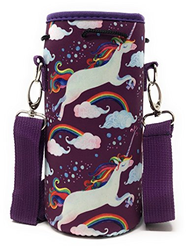 Neoprene Insulated Water Bottle Holder Carrier for (1-1.5L) Containers with Matching Padded Adjustable Shoulder Strap and Drawstring Sleeve by MEK (Magical Unicorn, 1 Pack)