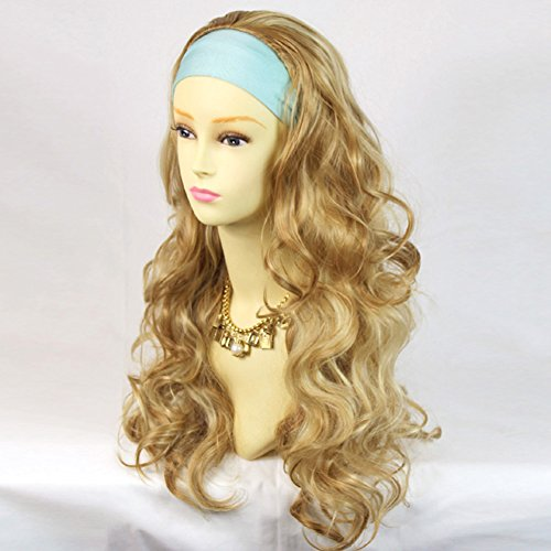 Curly 3/4 Fall Hair Piece Long Wavy Lady Half Wig hairpiece Pale Blonde Strawberry Blonde and Golden Blonde mix from - Fall Hairpiece