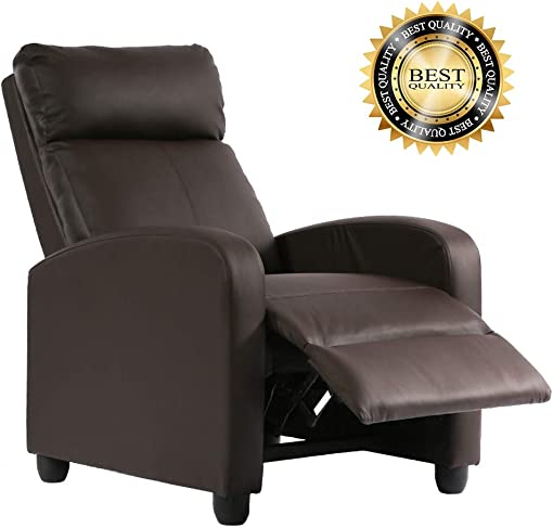 Recliner Chair for Living Room Recliner Sofa Wingback Chair Home Theater Seating Single Sofa Arm Chair Accent Chair Modern Reclining Chair Easy Lounge Brown