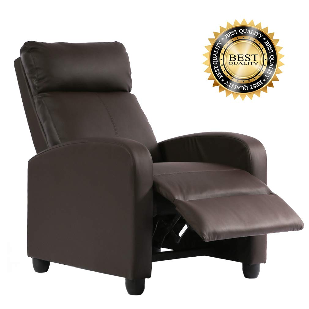 FDW Recliner Chair PU Single Sofa Modern Reclining Seat Home Theater Seating for Living Room