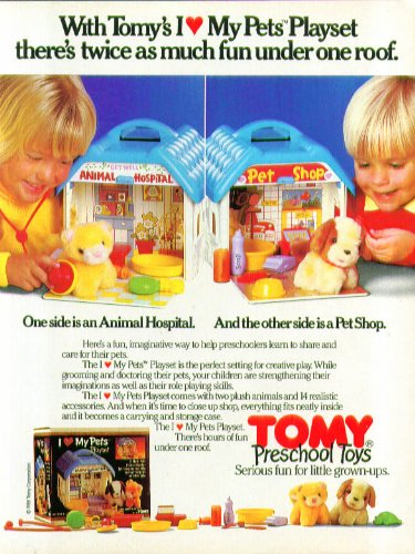Twice as much fun Tomy I Love My Pets Playsets ad 1985 from The Jumping Frog