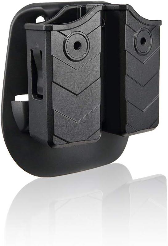 efluky Portacargador Funda para Pistola Cargador Bolsa Universal Portacargador Doble para H&K USP FS/Compact 9mm/.40/Beretta/Golck/CZ 75/Walther P99/Sig Sauer p226
