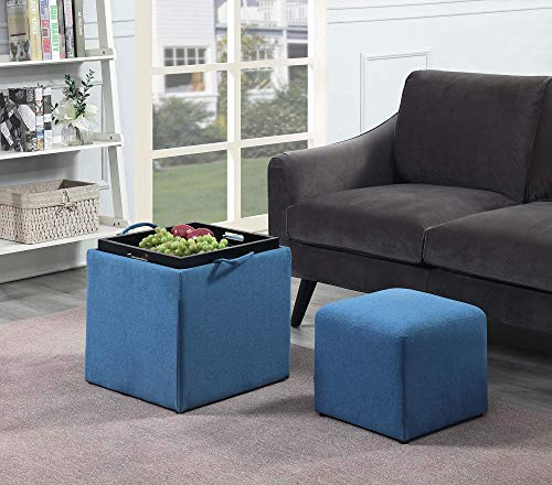Convenience Concepts 143010FSBE Designs4Comfort Park Avenue Single Ottoman with Stool, Soft Blue Fabric, (Renewed)