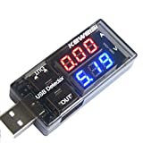 diymore USB Charger Doctor Current Voltage Charging Detector Battery Voltmeter Ammeter Multimeter USB Tester Mobile Power Panel Monitor Gauge DC Display Red Blue LED Display(Red and Blue )
