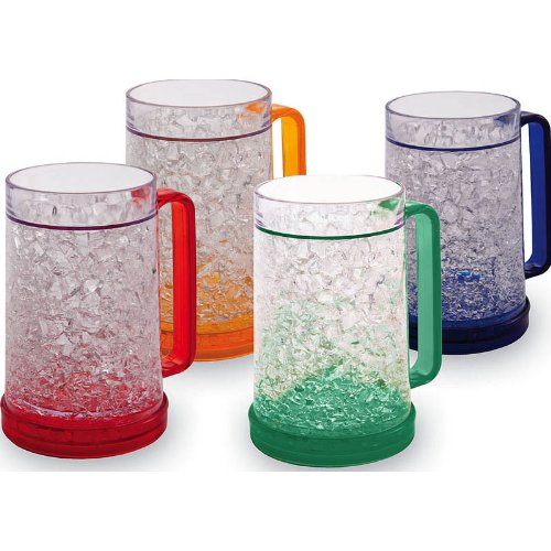 Wall Plastic Mug - Double Wall Gel Freezer Mug - Set of 4 - Red, Orange, Blue, Green