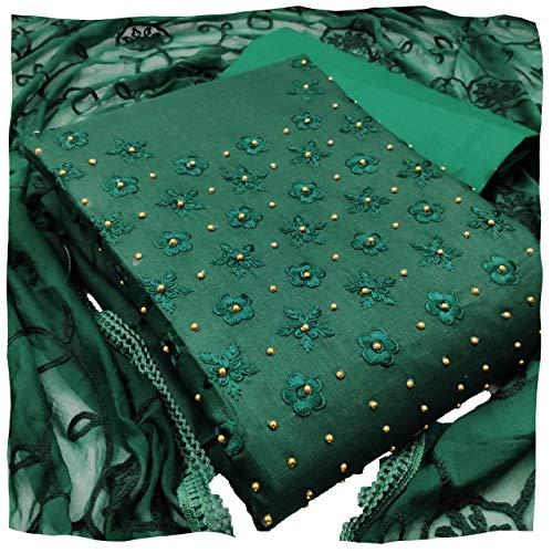 MANSORY ENTERPRISE Women's Unstitched Slub Cotton Salwar Suit Dress Material With Nazmeen Dupatta