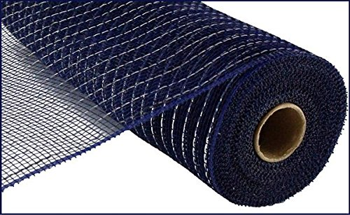 10 inch x 30 feet Deco Poly Mesh Ribbon - Value Mesh (Navy, Silver -