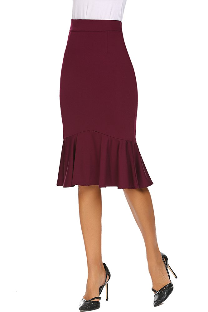 Qearal Womens High Waist Wear to Work Mermaid Bodycon Stretchy Pencil Skirts Knee Length (L, Wine Red)