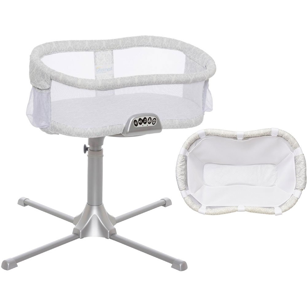 Halo -Swivel Sleeper Bassinet Premiere Series Classic Damask with Newborn Cuddle Insert - White Mesh