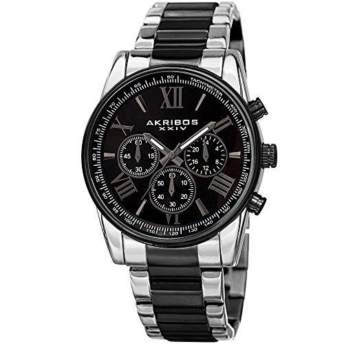 (Akribos XXIV Enterprise Mens Casual Watch - Sunburst Effect Dial - Quartz Movement - Alloy Strap - Black Silver)