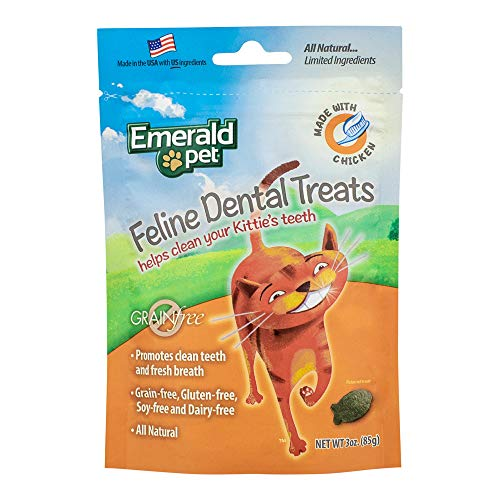 Emerald Pet Cat Chicken Dental Grain Free Treats, 3-Ounce