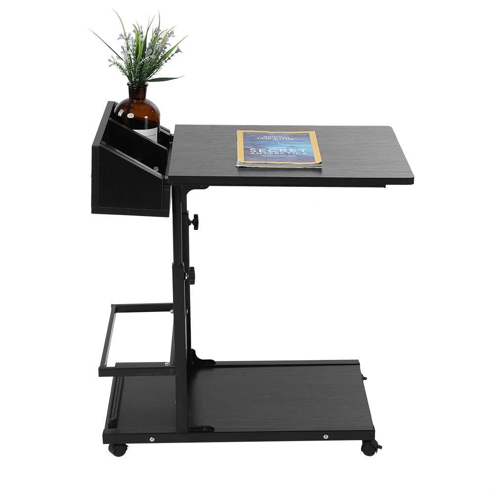 SOULONG Table de Lit /à Roulette pour Ordinateur Portable Multifonctionnelle Support Portable PC Portable Hauteur R/églable Bureau Informatique avec Tiroir et Plateau Noir