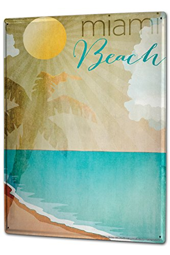 Tin Sign XXL Holiday Travel Agency Miami Beach by LEOTIE