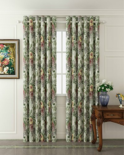 MICHELE HOME FASHION 25 (Set of 1 panel) (100″ W x 84″ L) Pleated Top Room Darkening Thermal Insulating Blackout Curtain European Luxurious Window Treatment Draperies For Sale