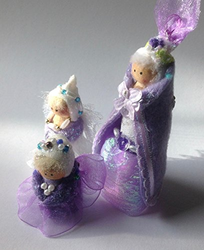 3 Purple Glitter Fairy Princess Wooden Peg Dolls For Natural Play