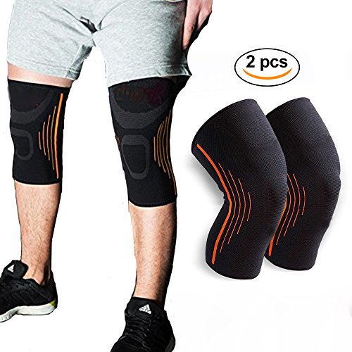 Sunta Athletics Knee Pads Protect Brace Compression Sleeve Support, 2 Pack Medium Size for Running, Jogging, Sports, Joint Pain Relief, Arthritis and Injury Recovery by Sunta