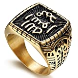 SAINTHERO Men's Stainless Steel Islam Religious Band Vintage Gold Black Muslim Square Signet Rings Hip-hop Jewelry Size 8