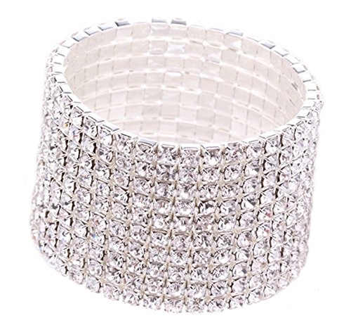 Austrian Crystal Stretch Bracelet (10 Row Rhinestone Stretch Bracelet Silver Tone for Women | Clear Austrian Crystal Prom Bracelet Bridal Silver)