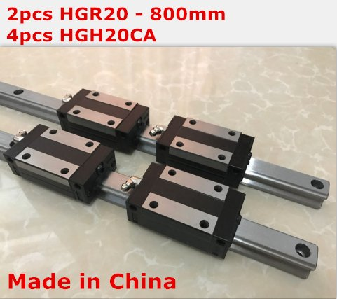 HiShangRC linear rail cnc parts 2pcs HGR20 - 800mm + 4pcs HGH20CA linear block carriage