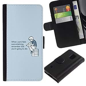 KLONGSHOP / Tirón de la caja Cartera de cuero con ranuras para tarjetas - Overwhelming Death Quote Motivation - Samsung Galaxy S5 V SM-G900