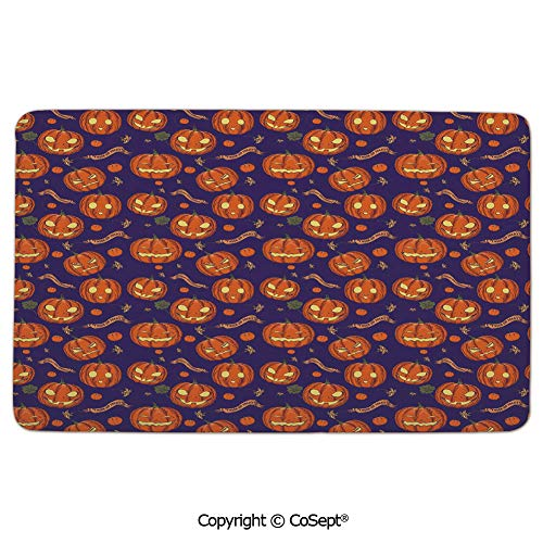 Flannel Floor Mats,Pumpkins Pattern Different Face Expressions Happy