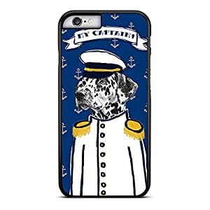 Funda carcasa para Apple iPhone 6S Plus diseño dibujo perro marinero my captain borde negro