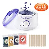 Hair Removal Wax Clean Up - [2018 UPGRADED] Hair Removal Electric Home Waxing Kit Hot Wax Warmer Wax Heater Rapid Melt Hard Wax with 4 Different Flavor Hard Wax Beads and Wax Applicator Sticks For Women and Man