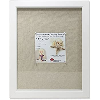 lawrence frames shadow box frame with linen inner display board 11 by 14 inch white