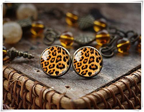 Goodnight cat Leopard Print Stud Earrings, Leopard Stud Earrings, Animal Print Earrings, Post Earrings, Glass Dome Earrings