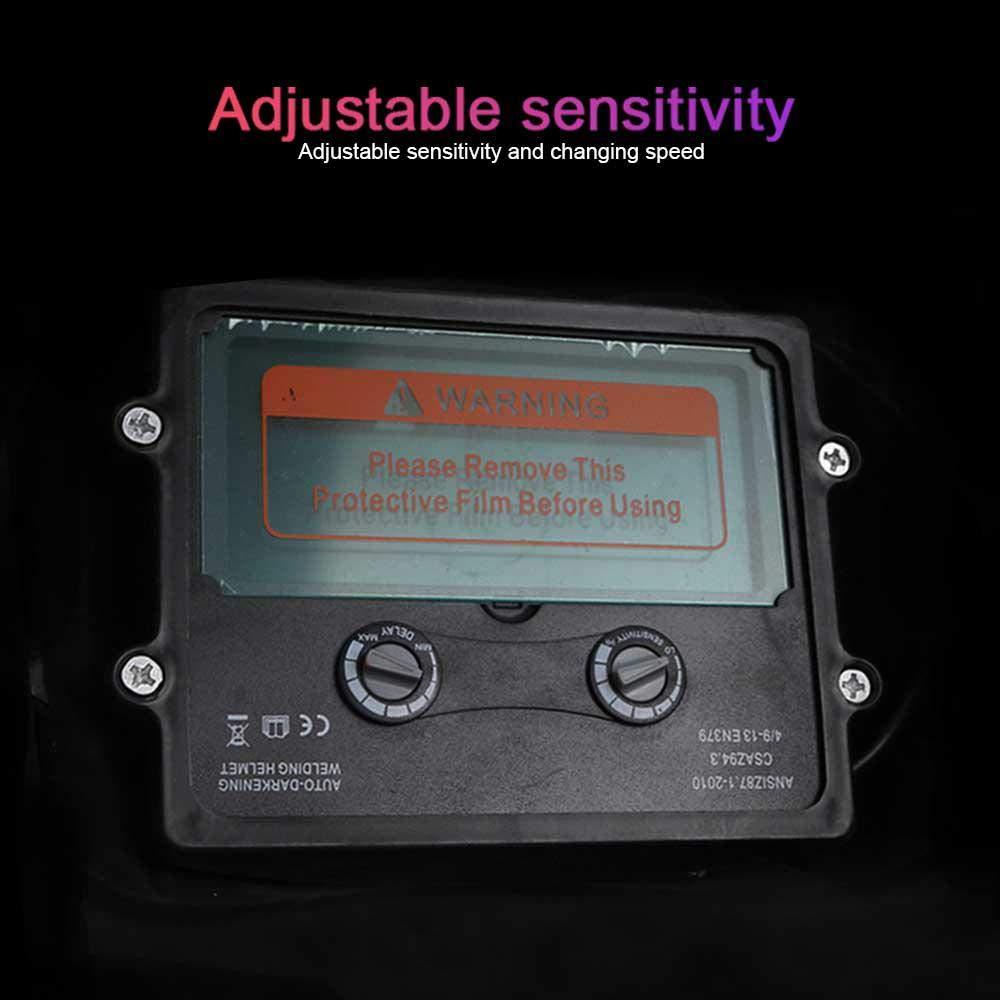 KOBWA - Casco de soldadura solar con oscurecimiento automático, rango de sombra ajustable 4/9-13, máscara de soldadura de sensibilidad ajustable, ...