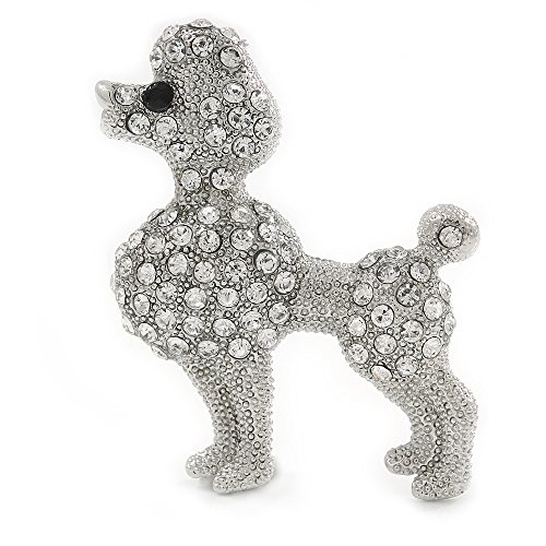 Avalaya Silver Tone Clear Crystal Poodle Dog Brooch - 40mm - Crystal Poodle