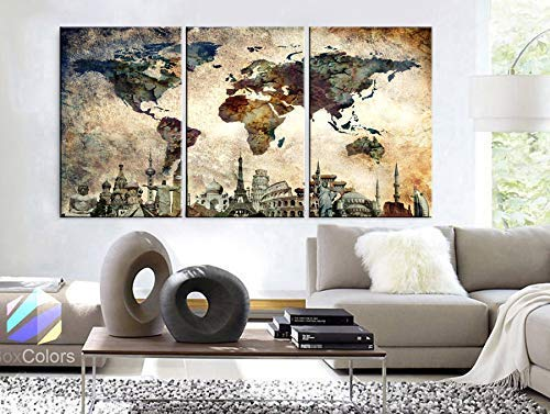 """Original by BoxColors LARGE 30""""x 60"""" 3 panels 30x20 Ea Art Canvas Print Map World Wonders Old paper texture wall home decor (framed 1.5"""" depth) M1844 3"""