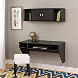 Prepac Designer Floating Desk and Hutch Set in Washed Black