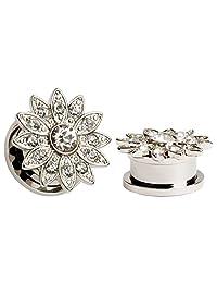 KUBOOZ Popular Elegant Zircon Ear Plugs Tunnels Gauges Stretcher Piercings Jewelry