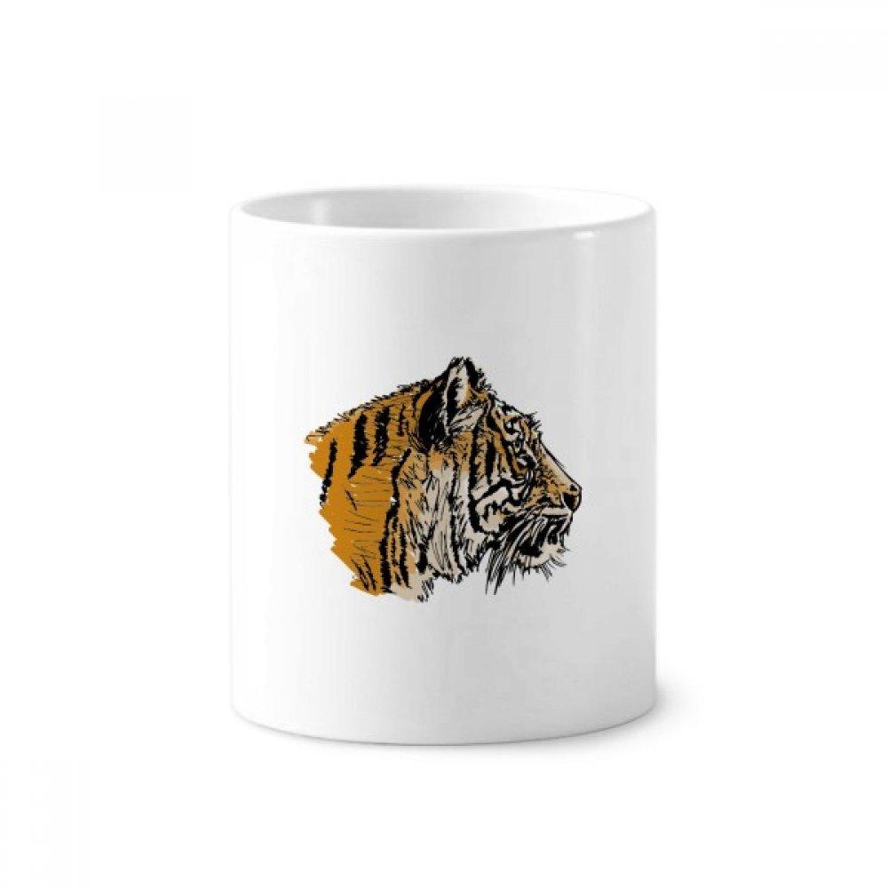 DIYthinker Cabeza del tigre Primer Rey Wild Animal de cerámica cepillo de dientes titular de la pluma taza de la taza blanca 350ml regalo 9,6 cm de alto x ...