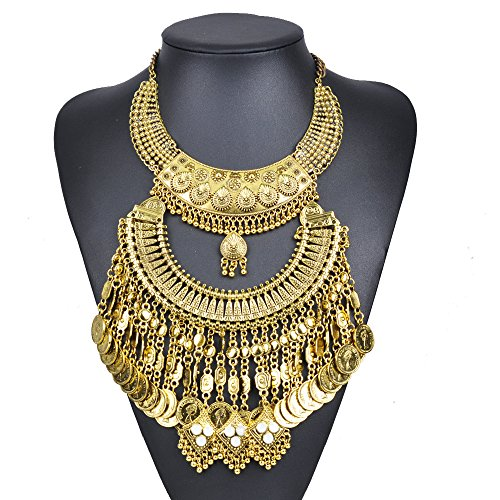 [Girl Era Coin Costume Jewelry Cleopatra Chunky Necklaces Charm Turkish] (Cleopatra Cat Costume)