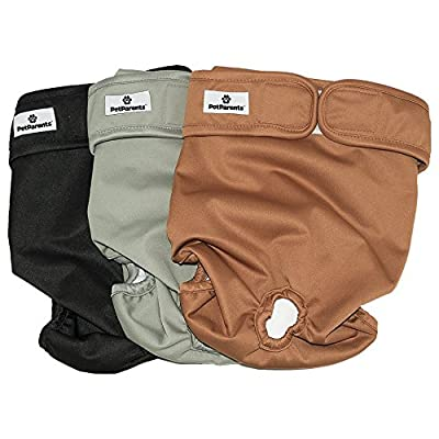 Washable Dog Diapers (3pack) Durable Doggie Diapers, Works For Both Male Dog Diapers and Female Dog Diapers, Comfy And Stylish Dog Wraps, Premium Diapers For Dogs By Pet Parents