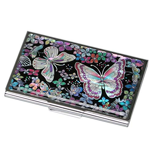 Mother of Pearl Womens Business Credit Name Id Card Case Cash Metal Stainless Steel Engraved Slim Money Wallet with Butterfly ()