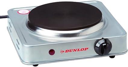 Bakaji Hornillo encendedor eléctrico 1 placa 185 mm con revestimiento antiadherente estructura acero placa de fundido Dunlop Potencia 1500 W ...