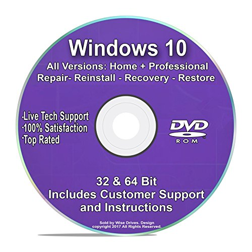 Windows 10 Recovery and Repair Disc Pro & Home All Editions 32 & 64 Bit DVD Recovery Re-install Reboot *Complete FIX* w/ Tech Support (Hp Laptop Disk For Boot)