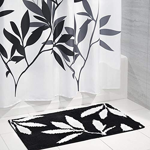 mDesign Fronds Fabric Shower Curtain and Microfiber Bathroom Accent Rug - Set of 2, Black/White/Gray